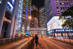 Central District: Traffic and city life in Asian international business and financial center, Hongkong Royalty Free Stock Photos