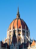 Central dome of Hungarian Parliament on clear blue sky background in Budapest Stock Photos
