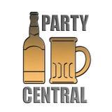 Central dourada do partido da caneca do frasco de cerveja Fotos de Stock