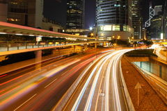 Central downtown in Hong Kong in the evening Royalty Free Stock Images