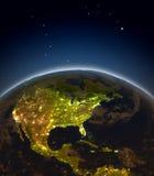 Central e America do Norte na noite Imagem de Stock Royalty Free