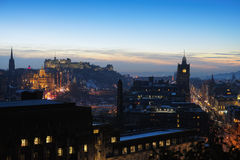 Central Edinburgh, Scotland, UK, at dusk Royalty Free Stock Images