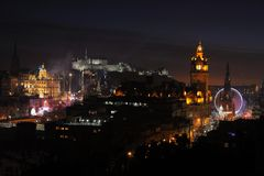 Central Edinburgh, Scotland, UK, at night Royalty Free Stock Photo