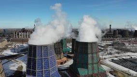 Central eléctrica con carbón de cocido al vapor al vapor gigante aérea Concepto del problema de Eclolgy metrajes