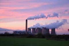 Central eléctrica de Drax en la puesta del sol Imágenes de archivo libres de regalías