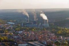 Central eléctrica de energía del carbón para la producción de electricidad en el La Robla Fotos de archivo libres de regalías