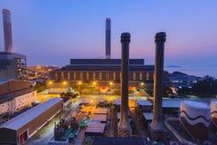Central eléctrica de Hong Kong en la puesta del sol Fotografía de archivo libre de regalías