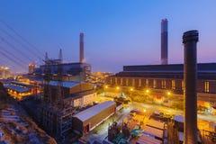Central eléctrica de Hong Kong en la puesta del sol Imagen de archivo libre de regalías