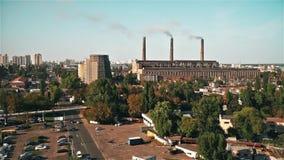 Central eléctrica de Termal en la ciudad de Kiev almacen de metraje de vídeo