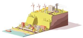 Central eléctrica polivinílica baja de las turbinas de viento del vector ilustración del vector