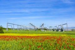 Central eléctrica y estación de la distribución Imágenes de archivo libres de regalías
