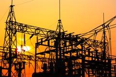 Central eléctrica y estación de la transformación Imagen de archivo libre de regalías