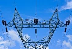 Central eléctrica y líneas eléctricas Imagen de archivo libre de regalías