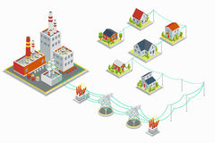 Central eléctrica y vector de la distribución de la energía eléctrica infographic concepto isométrico 3D