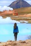 Central elétrica da energia geotérmica de mola quente de Islândia imagem de stock