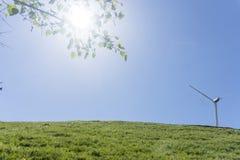 Central elétrica de energias eólicas no fundo natural, o conceito do gre fotografia de stock