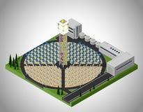 Central elétrica de energias solares Ilustração do Vetor