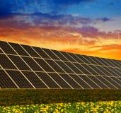 Central elétrica de energias solares no prado de florescência da mola no por do sol Imagens de Stock Royalty Free