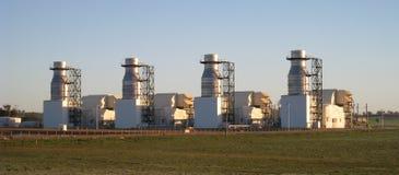 Central elétrica de turbina de gás no sub da manhã Imagem de Stock