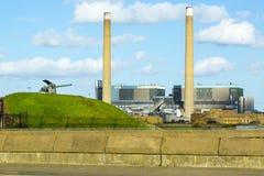 Central elétrica do Tilbury: Eletricidade. Imagem de Stock
