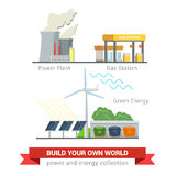 Central elétrica liso do vetor, estação do reenchimento do gás, vento do sol da energia do eco Fotografia de Stock