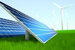 Central elétrica solar e de energias eólicas Fotografia de Stock Royalty Free