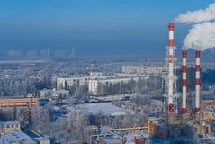 Central energética no inverno Foto de Stock
