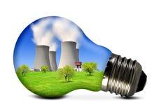 Central energética nuclear no bulbo Imagens de Stock