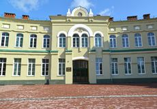 Central entrance to the building of the Orthodox gymnasium of the Kaliningrad diocese of ROC Royalty Free Stock Photography