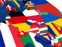 Central Europe on 3D map with flags Stock Images