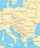 Central Europe Political Map. With capitals, national borders, rivers and lakes. English labeling and scaling. Illustration Royalty Free Stock Photo