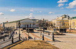 Central exhibition hall on Manezh square in Moscow. Moscow, Russia - March 21, 2016: Central exhibition hall on Manezh square stock image