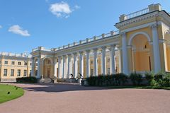 The central facade of the Alexander Palace. Pushkin City. royalty free stock photo