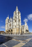 Central facade, tower and rose window of the cathedral of Leon Stock Images