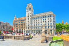 Central famous square of Barcelona - Placa De Catalunia. The mos. Barcelona, Spain - June 12, 2017 : Central famous square of Barcelona - Placa De Catalunia. The stock image