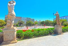 Central famous square of Barcelona - Placa De Catalunia. The mos. Barcelona, Spain - June 12, 2017 : Central famous square of Barcelona - Placa De Catalunia. The royalty free stock image