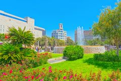 Central famous square of Barcelona - Placa De Catalunia. The mos. Barcelona, Spain - June 12, 2017 : Central famous square of Barcelona - Placa De Catalunia. The royalty free stock photography