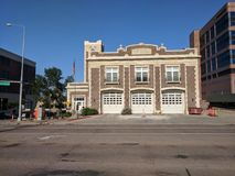 Central Fire Station in Downtown Sioux Falls. The Central Firehouse in downtown Sioux Falls, South Dakota. 9th & Minnesota Stock Photo