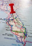 Central Florida. Closeup of a Florida map with a red push pin royalty free stock images