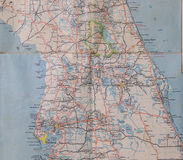 Central Florida 1950's. A map of central Florida in the early 1950's without Interstate highways stock image