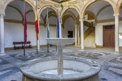 Central fountain of the cloister royalty free stock photography