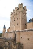 Central front tower of segovia castle. Big castle at segovia city in spain Stock Images