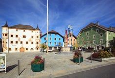 Central fyrkant av köpingen av Tamsweg, Österrike royaltyfri foto