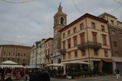 Central fyrkant av Rimini, Italien arkivbild
