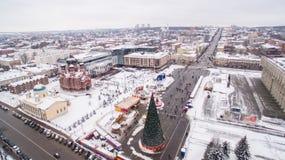 Central fyrkant av Tula på flyg- sikt 05 för vinter 01 2017 Royaltyfri Foto