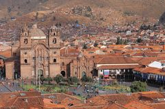 Central fyrkant i Cuzco, Plaza de Armas Fotografering för Bildbyråer