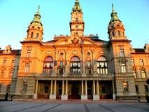 Central fyrkant i GyÅ ` r, Ungern arkivbilder