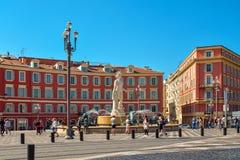 Central fyrkant i Nice Fotografering för Bildbyråer