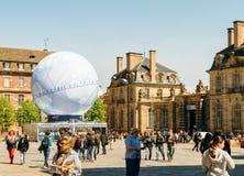 Central fyrkant med Frankrike kandidatur för världsmässan 2025 Royaltyfria Bilder