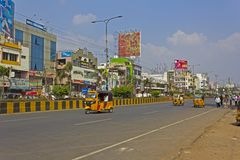 Central gata i Guntur Arkivbilder